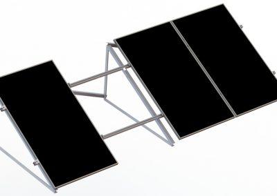 schemat konstrukcji fotowoltaicznej na dach płaski