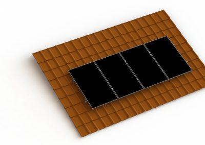 Schemat konstrukcji fotowoltaicznej do blachodachówki ceramicznej z 4 panelami słonecznymi