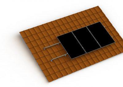 Schemat konstrukcji fotowoltaicznej na blachodachówce betonowej