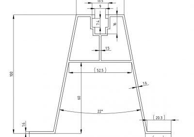 mostek trapezowy T100 - szkic