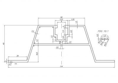 mostek trapezowy T40 - szkic