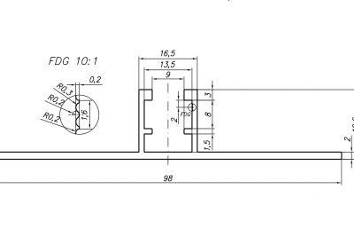 profil mostek trapezowy T20 - szkic