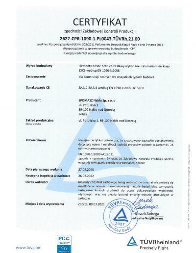 Certyfikat FPC strona 1