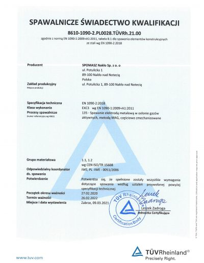 Certyfikat Welding strona 1