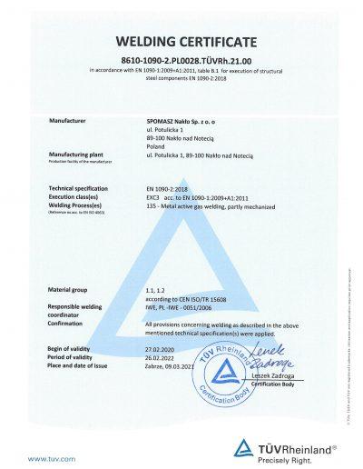 Certyfikat Welding strona 1 EN