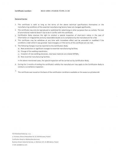 Certyfikat Welding strona 2 EN